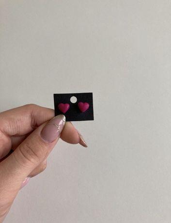 Kolczyki z modeliny różowe vintage retro serca stal Sawinianka
