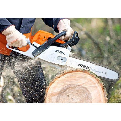 usługi cięcia piłą spalinową. Rozdrabnianie gałęzi.  Wycinka drzew
