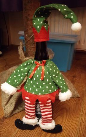 Prezent - dekoracja - świąteczny stół- ozdoba, torebka na butelkę