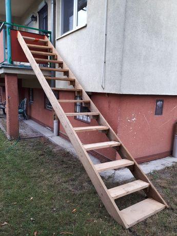 Schody budowlane drewniane solidne deska 4cm