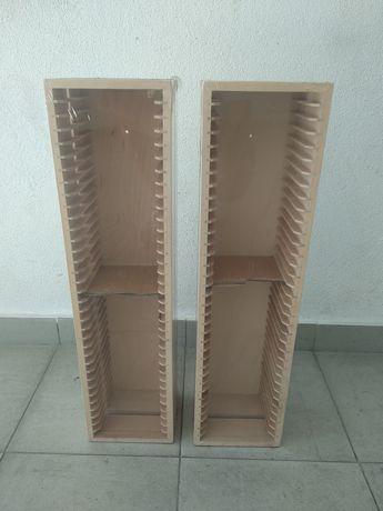 2 blocos de arrumação de CD/DVD em madeira modelo BOALT do IKEA