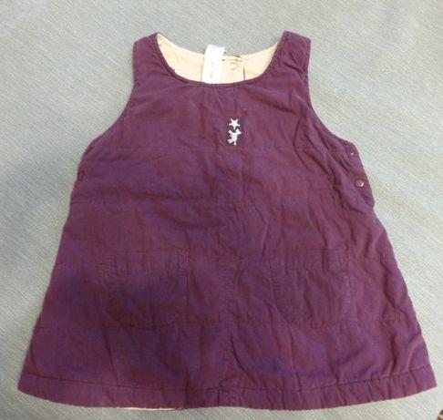 Зимний сарафан тёплое платье на девочку 12-18-24 80-86см