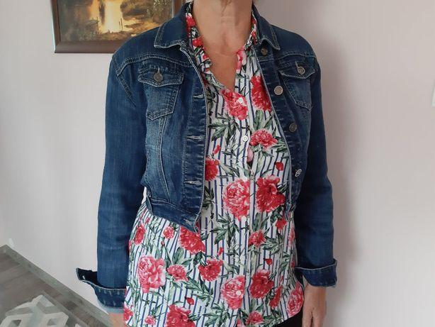 katana narzutka narzuta marynarka jeansowa damska krótka rozmiar 40