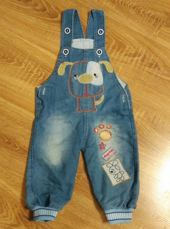 Spodnie ogrodniczki, jeans, jak nowe,r.74