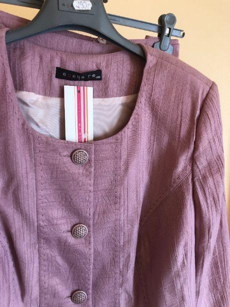 Liliowy elegancki komplet żakiet spódnica nowy jasny fiolet róż 48