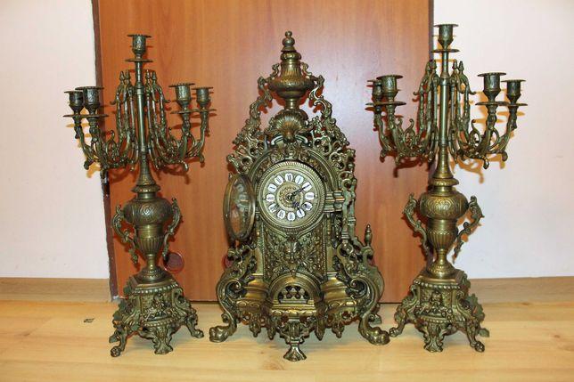 Wspaniały ,Wielki , zegar kominkowy z kandelabrami mosiądz