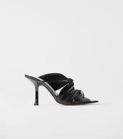 Новые черные кожаные босоножки zara