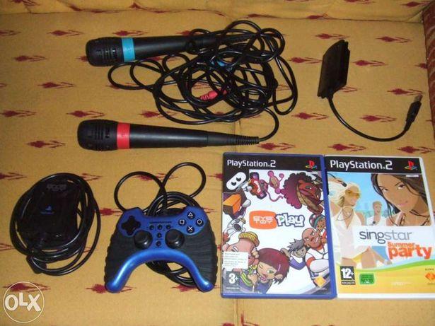 2 Microfones singstar +camera eye toy +comando +varios jogos