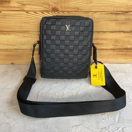 Мужская кожаная сумка мессенджер через плечо Louis Vuitton чоловіча