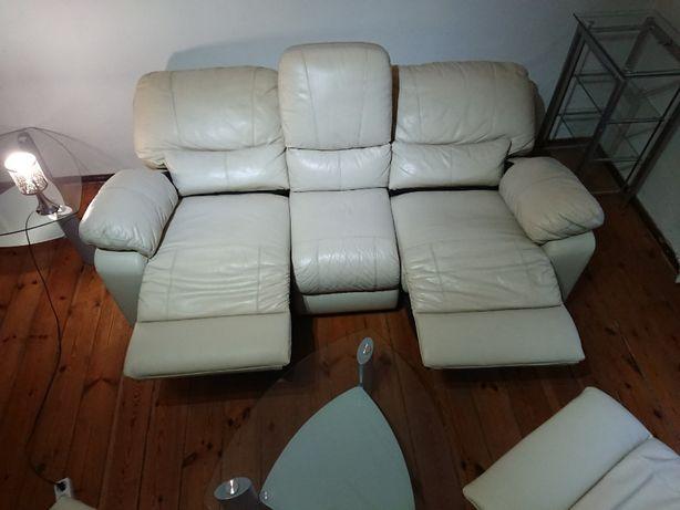 Sofa Kanapa 2 Fotele Wypoczynek Komplet Zestaw Skórzany4x Relax Relaks