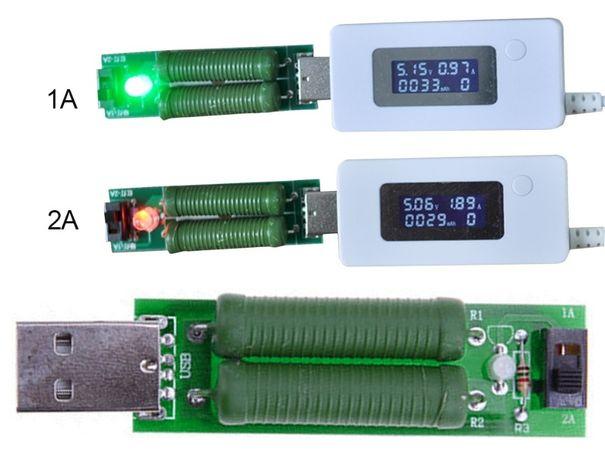 USB нагрузочный резистор с переключателем 1A-2A зеленый