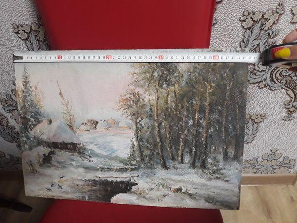 Срочно.Картина маслом Зима 1980г.
