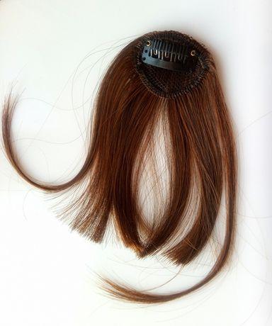 Чёлка каштановая шиньон иcкуcственные волосы