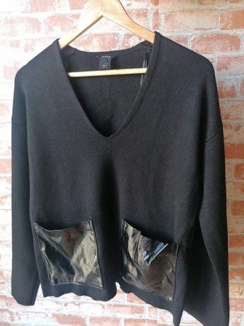 sweter | czarny | ekoskóra | eko skóra | kieszenie | wyjątkowy