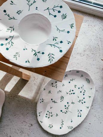 Тарелка для пасты посуда керамика ручная работа в стиле Osoka Art