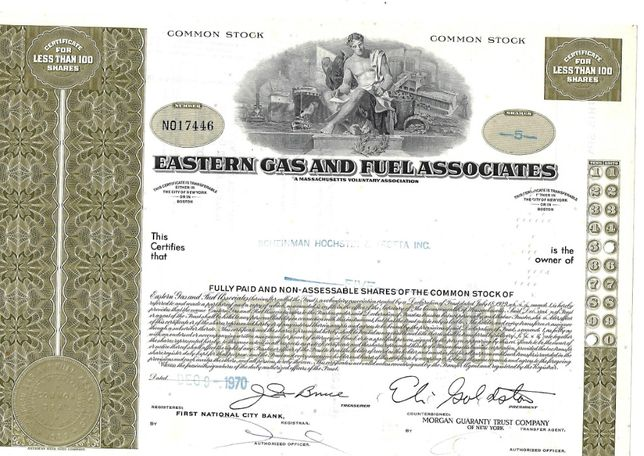 Bonds Shares Ações Eastern Gas and Fuel Associates 1970 USA