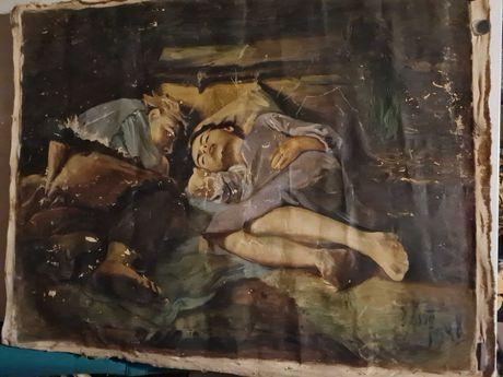 Картина маслом спящие дети.Перов.