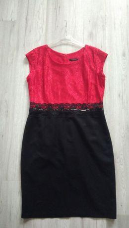 Czerwono-czarna elegancka sukienka 46