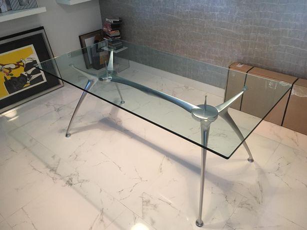 Mesa de jantar design em vidro e metal 1,80m comp, 90cm larg, 72cm alt