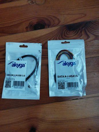 Kable do pc 1x Sata na 2x Sata oraz USB 3,0 na 2.0