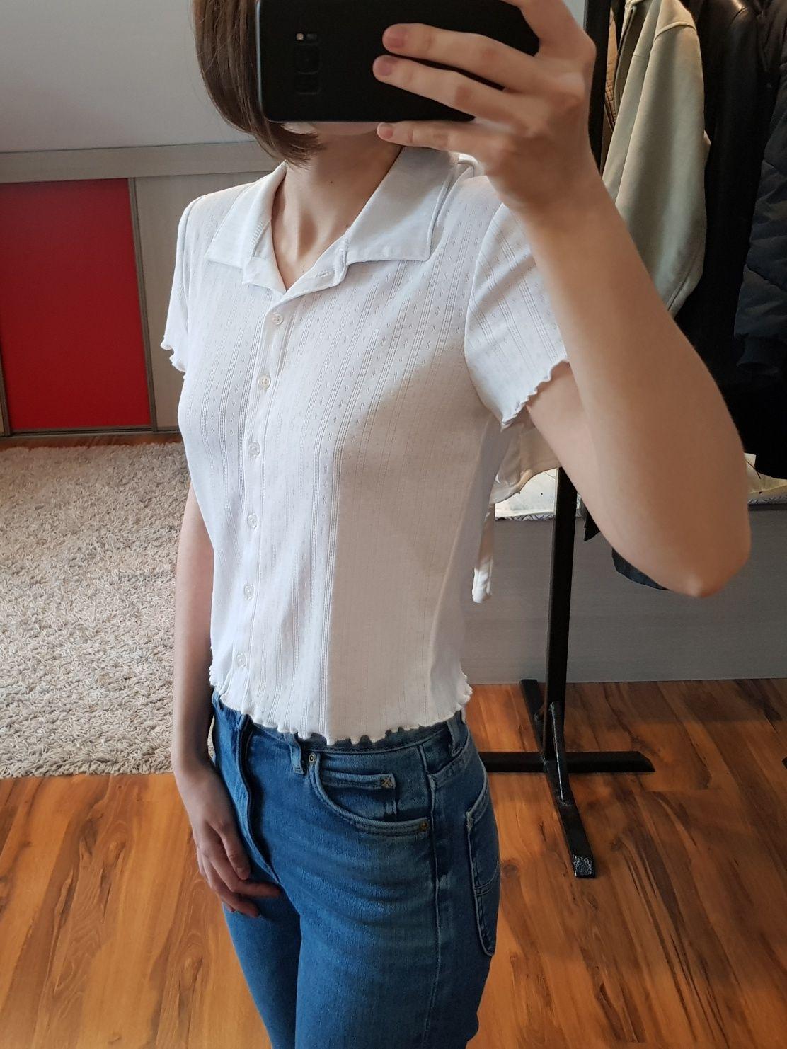 Biała bluzka z kołnierzykiem koszula H&M 36 S