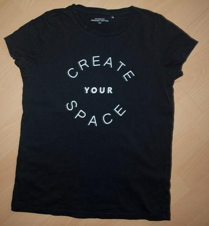 Reserved bluzka czarna nadruk koszulka 152 cm stan bdb