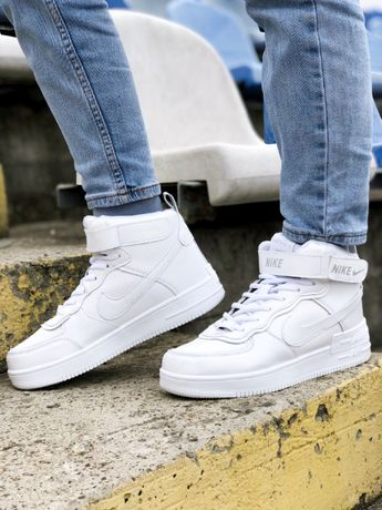 Кроссовки Найк зима Nike Air Force High White Winter белые Аир Форс