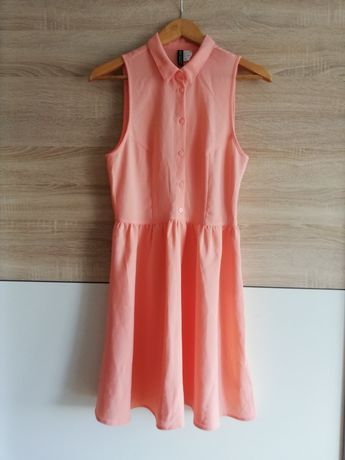 Sukienka z kołnierzem w kolorze koralowym - H&M 34