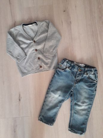 Zestaw H&M r.74 sweterek,dżinsy