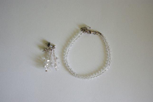 zestaw biżuterii ślubnej srebrnej z kryształami