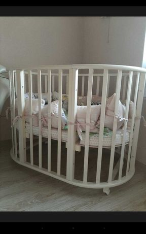 детская круглая кроватка-трансформер