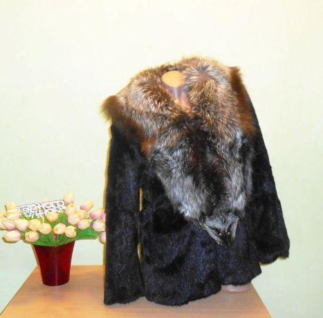 шуба сурок полевая норка с чернобуркой 46-48 размер