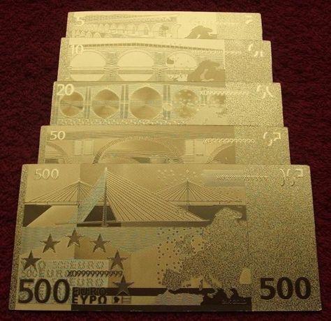 EUROPA EURO 24 KARAT GOLD Banknoty Zestaw - 5 sztuk UNC