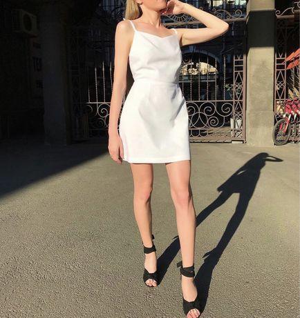 Белое платье лён