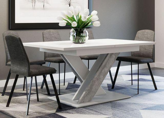 Stół rozkładany 140x180 biały mat + beton do salonu Wysyłka 7 dni