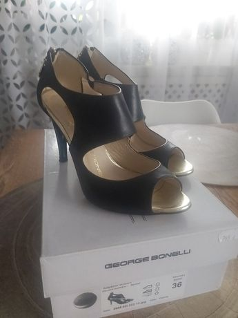 Buty skórzane szpilki George Bonelli czarne rozm 36