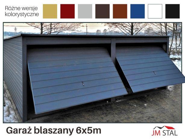 JM STAL GARAŻE BLASZANE - Garaż Dwustanowiskowy Grafitowy - Wiaty ,