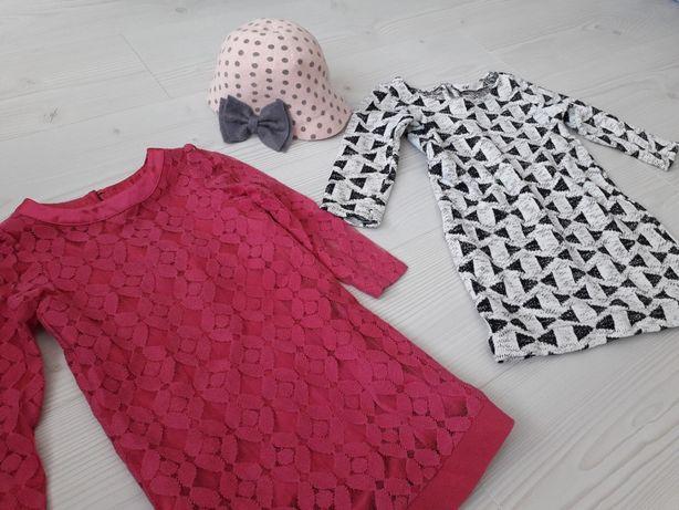 Zestaw komplet 3 szt elegancka czapka +2 sukienki r 110 ASOS H&M