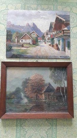 Картины старые, живопись город Австрия ВМВ ,1942-43 гг, 2 шт