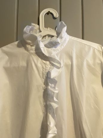 Zara-biala koszula z falbanka.oversize