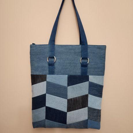 Torebka torba jeansowa dżinsowa patchwork prezent (handmade upcykling)