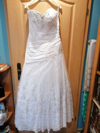 Suknia ślubna DUBER biała, zdobiona r. 42