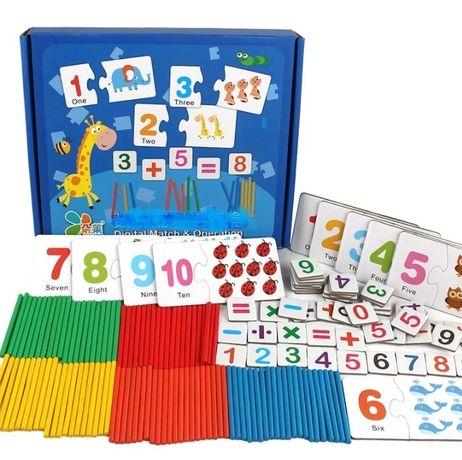 Деревянная игрушка набор первоклассника пазлы с цифрами и счетными пал
