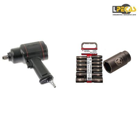 PROMO - Pistola de Impacto 1500 Nm + Conjunto de Chaves de Caixa de Im