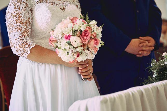 Suknia ślubna Afrodyta Sky koronkowa muślinowa XL XXL