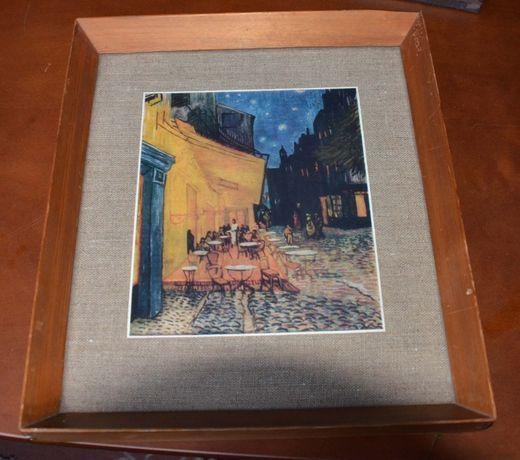 """Obraz reprodukcja """"Kawiarenka"""" Van Gogh w ramie z lat 60/70"""