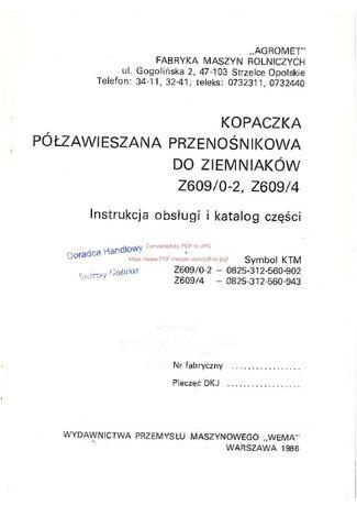 Katalog części Kombajn ziemniaczany kopaczka Z609