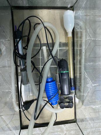 Нагреватель воды, компрессор для подачи воздуха в аквариум, трубка