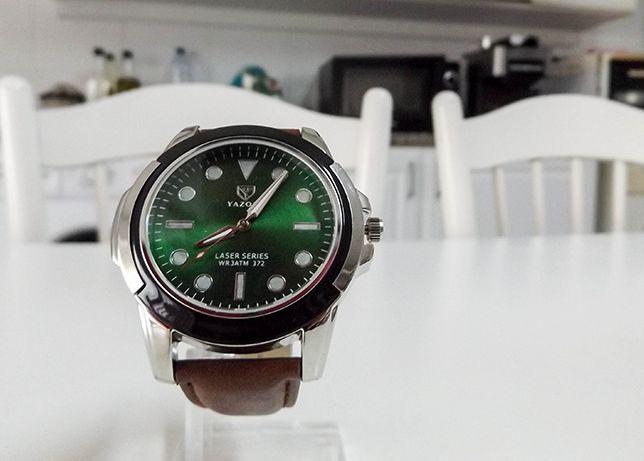 Relógio clássico masculino com bracelete de couro elegante, novo HQ
