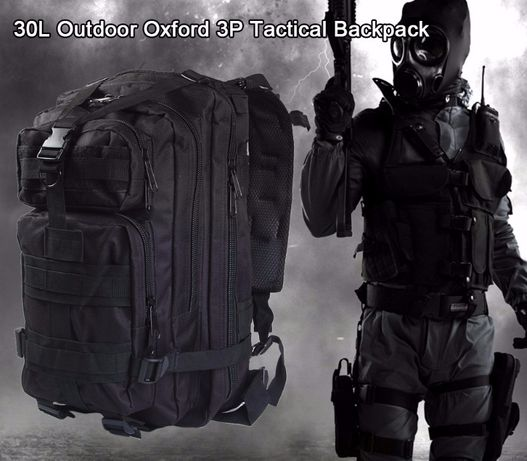 Mochila Militar 30l - Tactical Backpack - Preto - ARTIGO NOVO